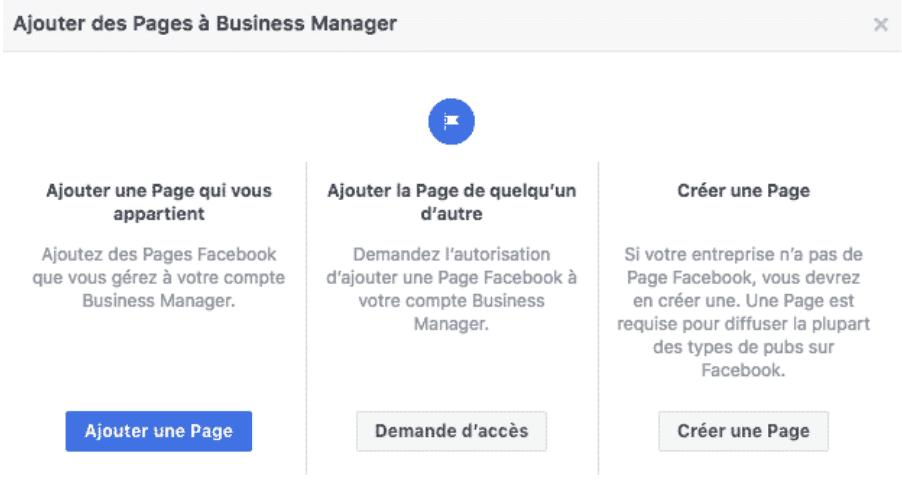 Ajouter des pages au Business Manager