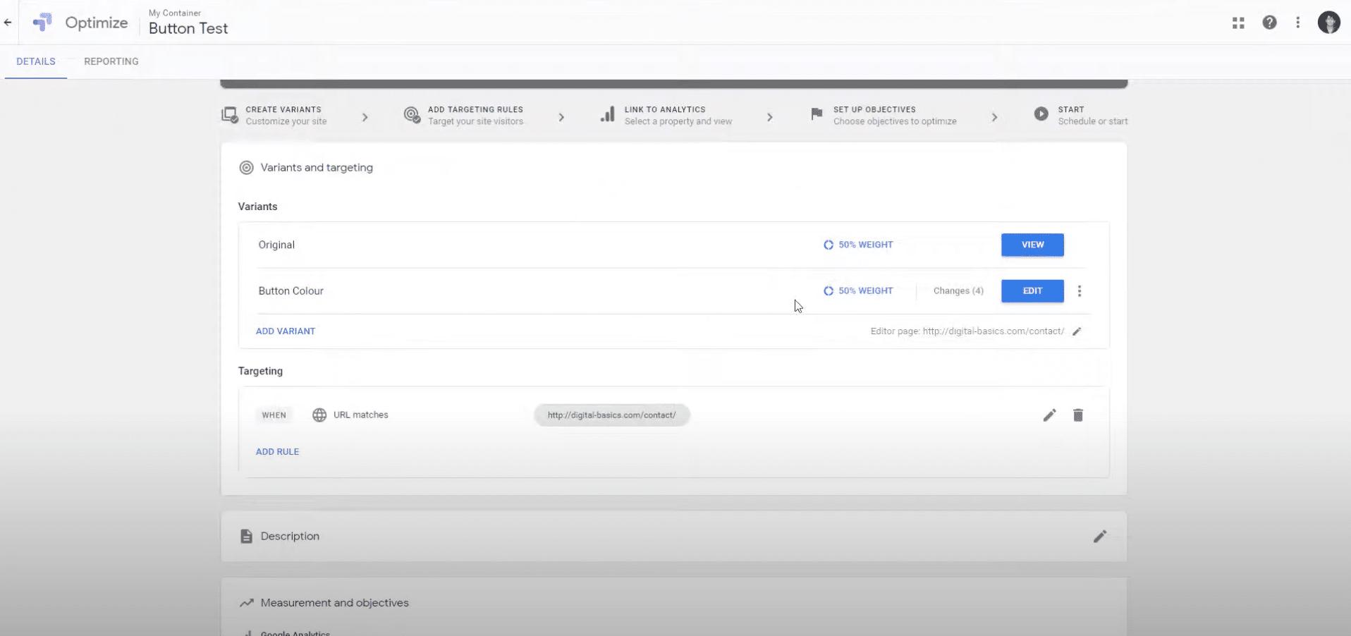 Plateforme Google Optimize