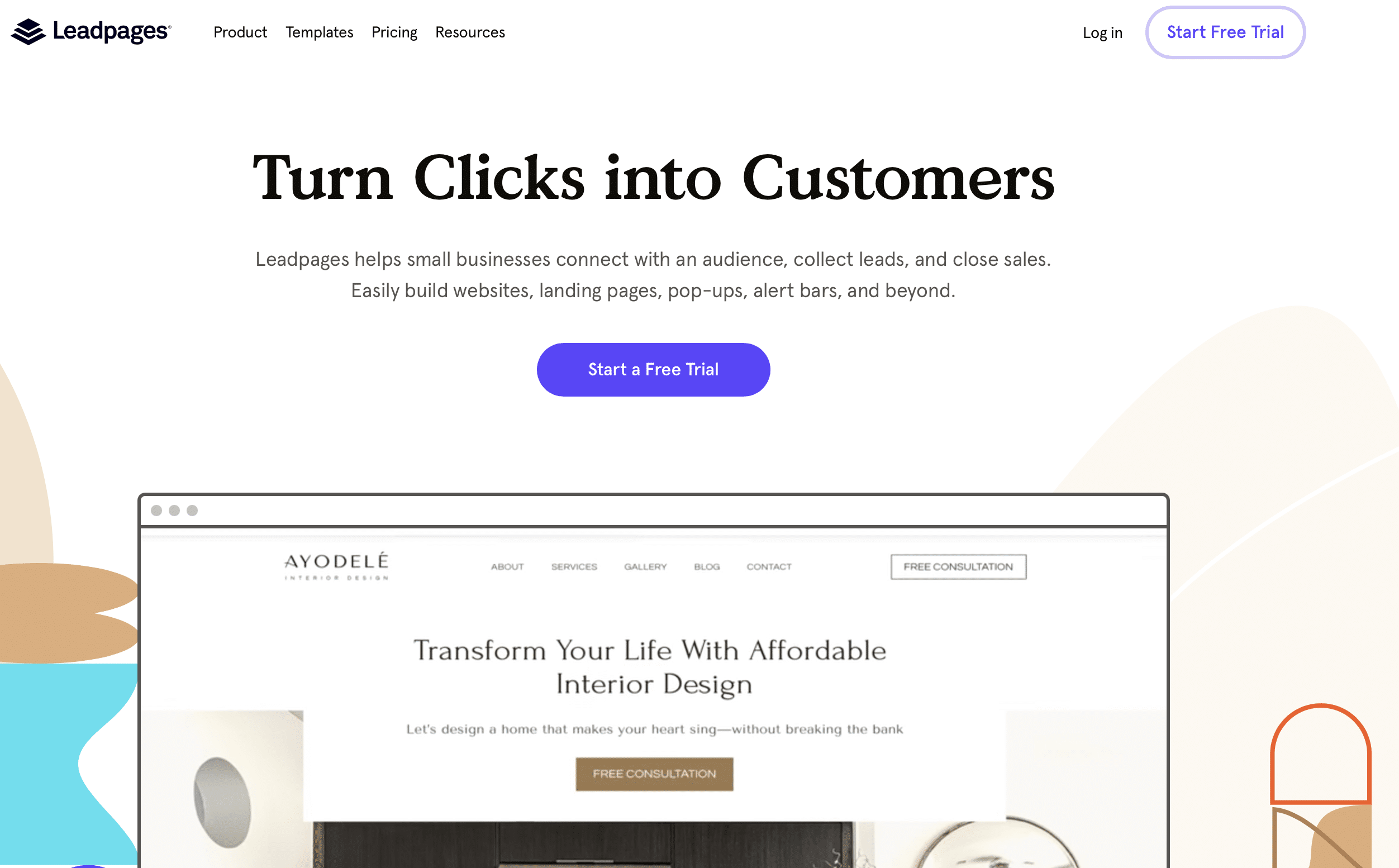Interface leadpages